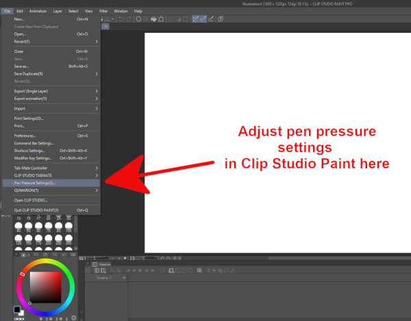 Clip Studio Paint pen pressure settings