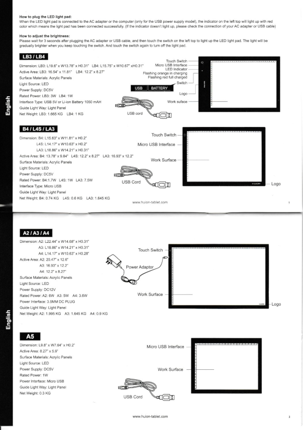 Huion light pad comparisons - instruction manual
