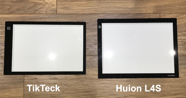 TikTeck and Huion size comparison